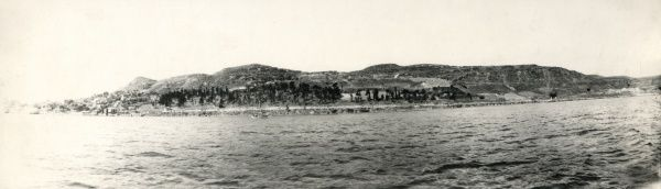 View of the Narrows, the narrowest section of the Dardanelles straits, connecting the Mediterranean with the Black Sea, Turkey. Date: 20th century