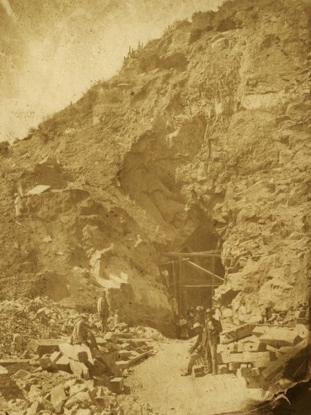 View of railway tunnel works, location unknown possibly Spain? Date