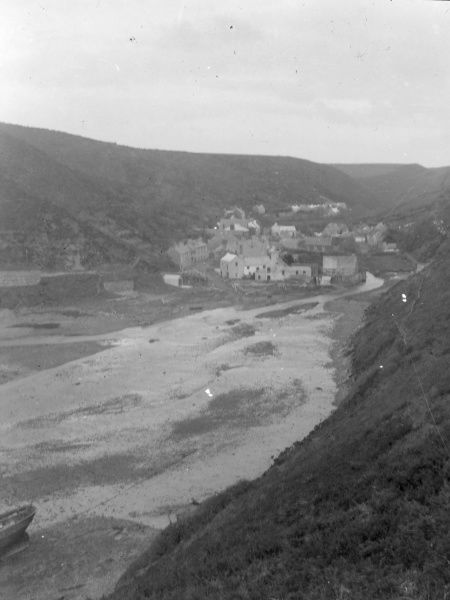 View of the village of Solva, Pembrokeshire, Dyfed, South Wales, as seen from the Gribin, the headland which overlooks it