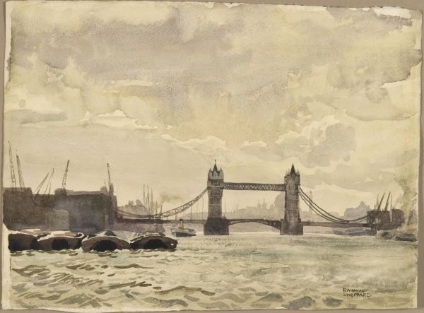 A view from the middle of the River Thames looking west toward Tower Bridge, London. Watercolour sketch by Raymond Sheppard