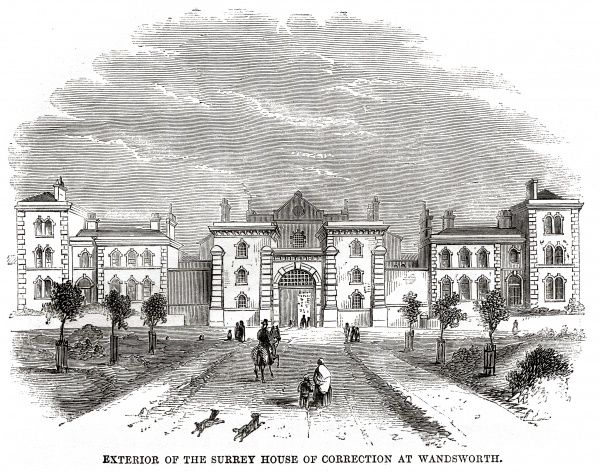 Exterior view of Surrey Prison and House of Correction, Wandsworth Date: 1862