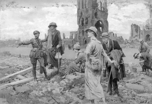 Battlefield tourists survey the battle torn landscape around Ypres shortly after the end of World War One