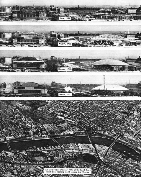 Four views of the Festival of Britain construction, dating from June 1950 to March 1951, with an aerial view below, showing London's South Bank in October 1950, looking north across the River Thames. Date: 1950-1951