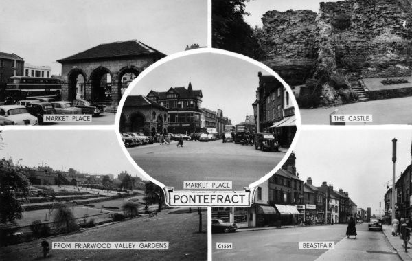 Five views of Pontefract, Yorkshire: two of the Market Place, and one each of the Castle, the Beastfair, and Friarwood Valley Gardens. Date: 1950s