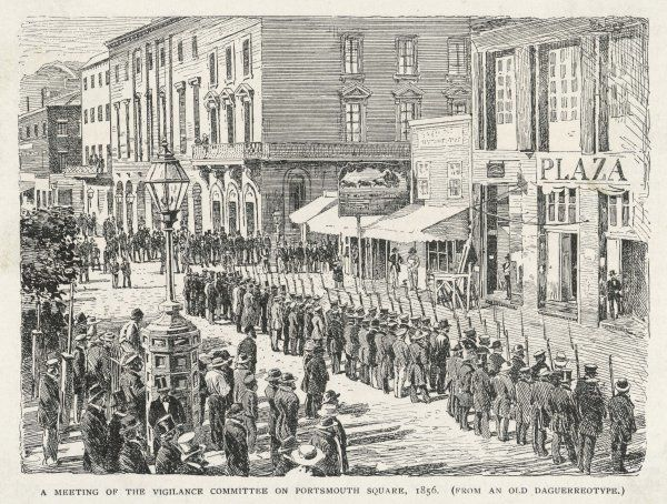 A meeting of the Vigilance Committee on Portsmouth Square, 1856