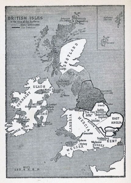 A map of the British Isles (including Ireland) during the time of the Vikings