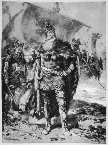 A formidable Viking warrior stands on a British shore, with a longship behind him