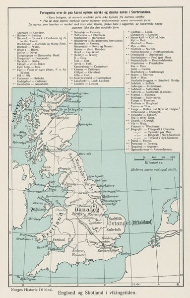 A map showing the Viking names for places in Britain