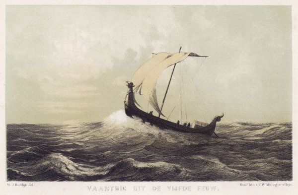 A Viking vessel heads out into the open sea, her sail bellying out before a favouring wind
