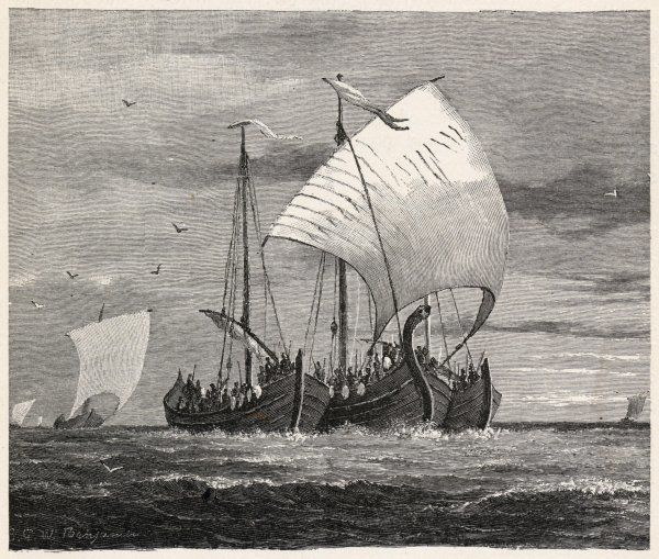 Vikings crossing the North Sea to attack England, with three vessels lashed together for protection