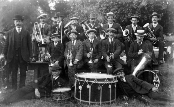 A village band dressed smartly but variously Date: circa 1900