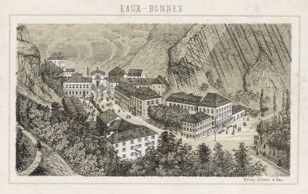 The spa village of Eaux-Bonnes in the Pyrenees-Atlantiques on the border with Spain