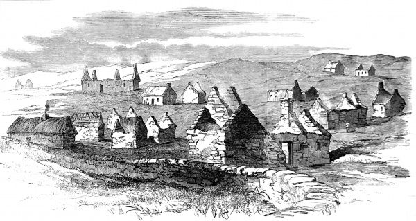 A landscape view of the village of Moveen during the forced evictions of the 1840's