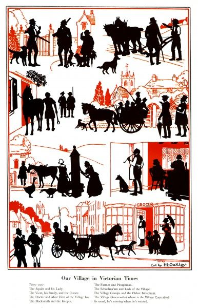 A series of silhouettes by H. L. Oakley depicting scenes of village life during the Victorian era