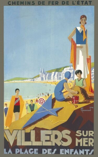 Travel poster from national railways for the French seaside resort of Villers-sur-Mer in northern France on the Channel coast advertising a beach for children on which they can build sandcastles