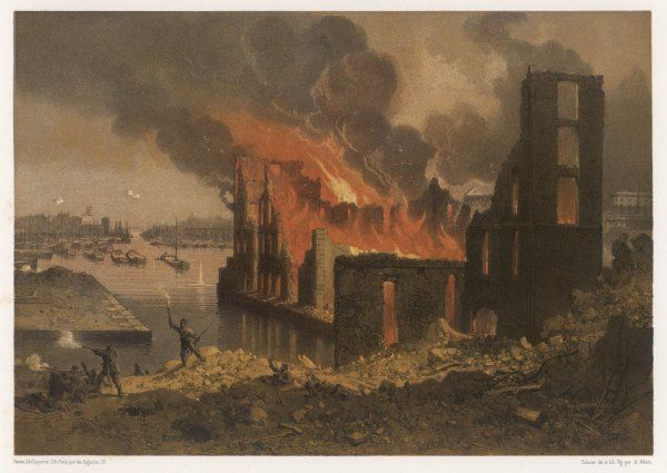 The Docks de la Villette, Paris, are set alight by the Communards during the fighting