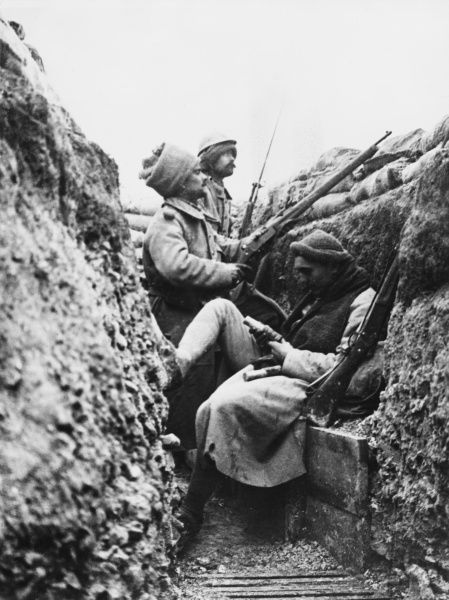 French front line trench on Vimy Ridge on the French Front in France during World War I in 1915