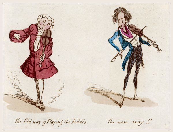The old way of playing the fiddle and the new way! Note the type of bow and how the violin is held by the 18th century violinist