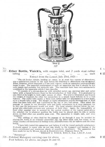 Visick's Ether Bottle, with oxygen inlet and two yards of rubber tubing [This catalogue contains 2000 pages of medical equipment] Date: 1930