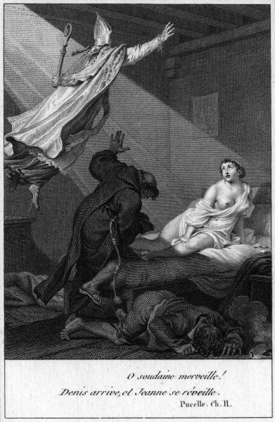 Jeanne d'Arc, in prison, receives a comforting vision of Saint Denis. (This incident from Voltaire's La Pucelle may not have occurred in real life...) Date: 1431