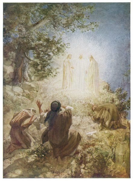 Jesus appears in a vision with Elijah and Moses to Peter, James and John