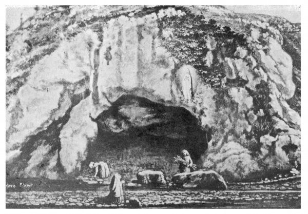 The scene at the Grotte de Massabieille when Bernadette Soubirous, gathering firewood with friends, sees the figure of a young female, later identified as the Virgin