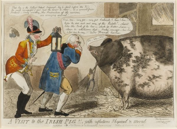 George III, accompanied by the Lord Chamberlain Salisbury, inspects a gigantic pig. Salisbury announces 'That Pig is the Tallest Fittest Properest Pig to stand before the K[ing]...'. The animal has been identified as the Enniscorthy boar