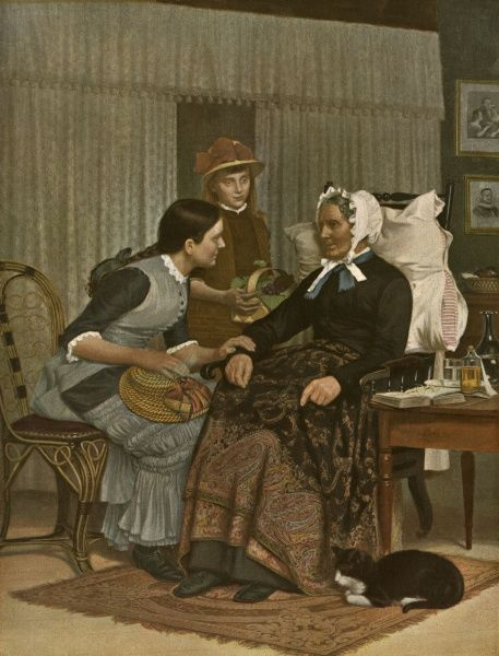 Two sisters visit their grandmother. Date: 1901