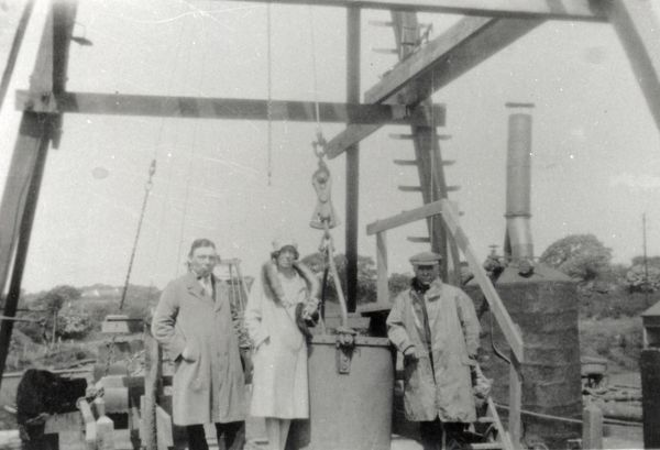 Three visitors, including Mr Vickerman (the boss) at the 'Margaret' pithead, Hook Colliery, near Haverfordwest, Pembrokeshire, South Wales