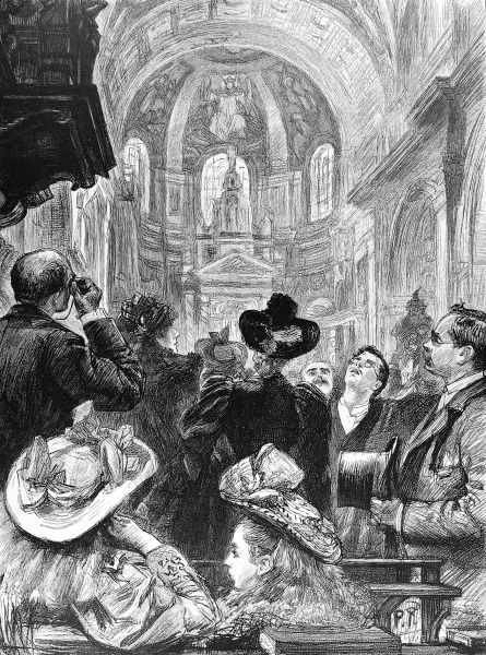 Engraving showing a group of Victorian visitors to St. Paul's Cathedral, London, gazing up at the mosaics on the ceiling, 1894
