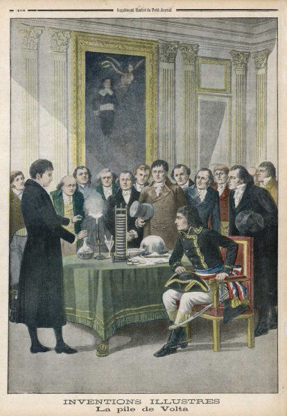 VOLTA'S PILE (battery) He demonstrates it to the Institut Francais and the consul Napoleon Bonaparte