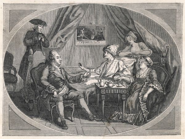 FRANCOIS-MARIE AROUET the French writer at Ferney on 4 July 1775, with Mme Denis, M de Laborde and M Adam: apparently he found this depiction unflattering!