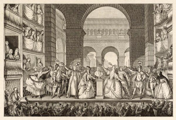 FRANCOIS-MARIE AROUET the crowning of Voltaire's bust at the Theatre Francais on the day of the sixth performance of his play 'Irene', 30 March 1778
