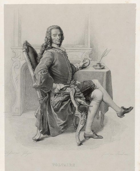 FRANCOIS-MARIE AROUET known as Voltaire French writer, depicted sitting rather uncomfortably at a table holding a snuff box, possibly ?