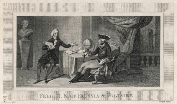 FRANCOIS-MARIE AROUET the French writer and philosopher with his patron, Friedrich II of Prussia