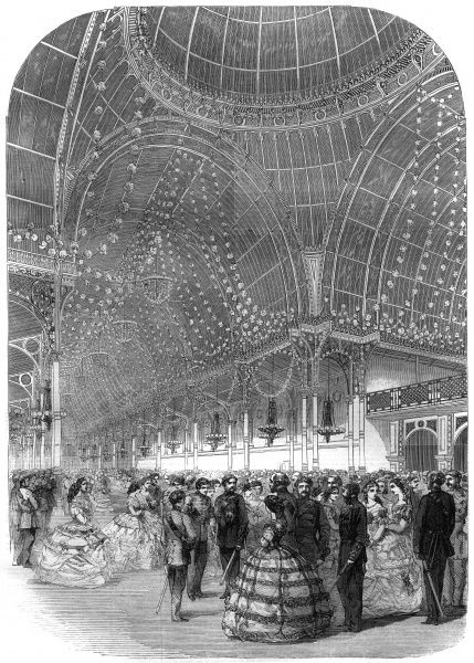 Engraving showing the Volunteer's Ball at the Floral Hall in Covent Garden, London, 1860. This image shows the Volunteers in their uniforms and their partners in formal evening dresses. The Floral Hall was, and is, a building of fine ironwork and glass