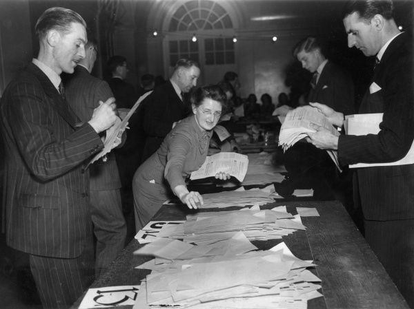 Counting of votes in the British Medical Association plebiscite on the National Health Service Act at BMA House, Tavistock Square, London