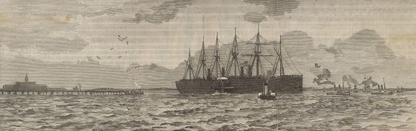 The last voyage of the 'Great Eastern' steamship, passing New Brighton and entering the river Mersey. Date: 1888