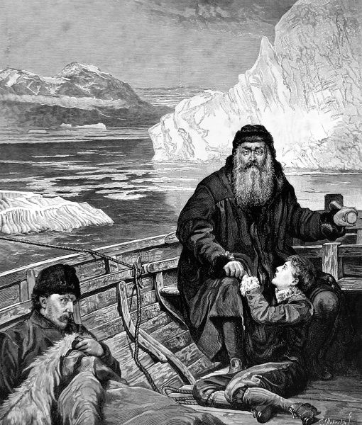 Engraving of 'The Last Voyage of Henry Hudson', a painting by John Collier, exhibited at the Royal Academy, 1882. Henry Hudson, the great navigator, made his last voyage to the Polar Seas in 1610. In the summer of 1611 his crew mutinied