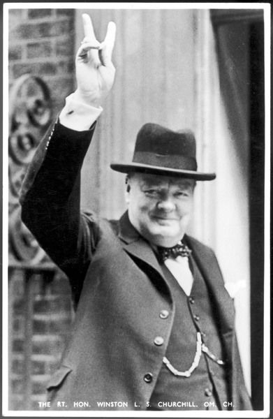 WINSTON CHURCHILL British statesman and author Gives the V-sign in 1940