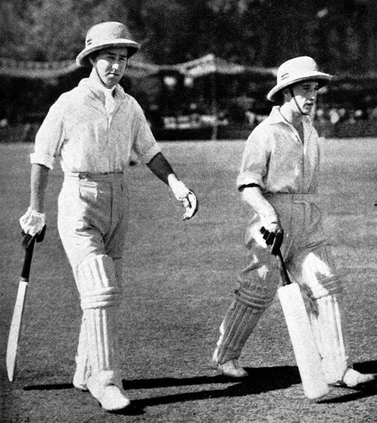 Photograph of W. Edrich and N.W.D. Yardley walking out to open the innings for the Lord Tennyson XI, in the match against an All-India XI, held at Lahore, 1937