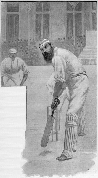 W G Grace (1848-1915), English cricketer, seen here at the wicket.  1892