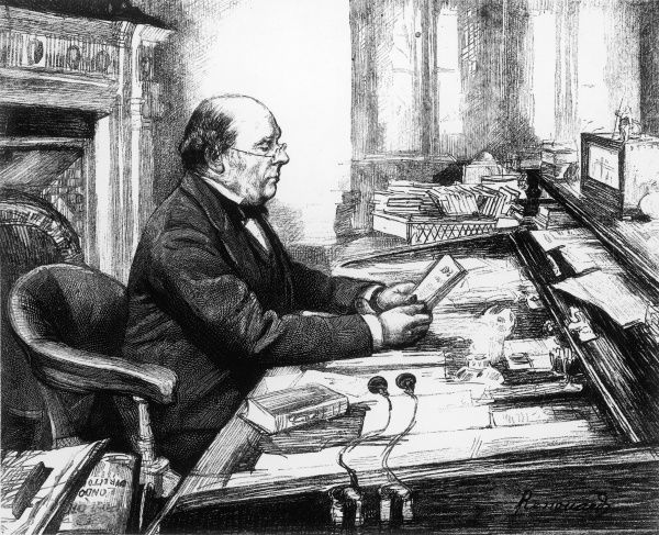 WILLIAM HENRY SMITH Statesman and newsagent reading at his desk