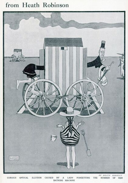 Cartoon, Seaside Stunt. A curious optical illusion caused by a woman forgetting the number of her bathing machine