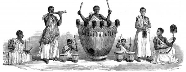 Engraving showing a group of the Waganda, or Baganda, people of south-central Uganda playing musical instruments, early 1860's