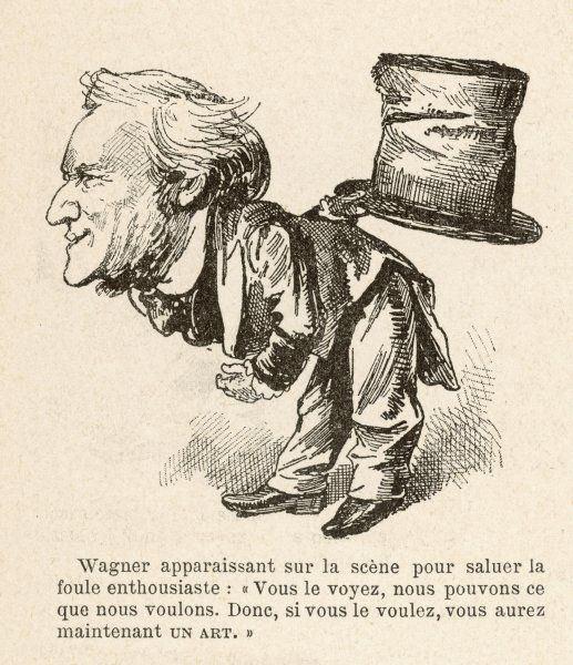RICHARD WAGNER German composer, bowing ingratiatingly to his audience, offering them Great Art