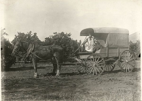 Henrey Castel, wagon of Russ Van Vleet, a mobile butcher, hollinssworth bros