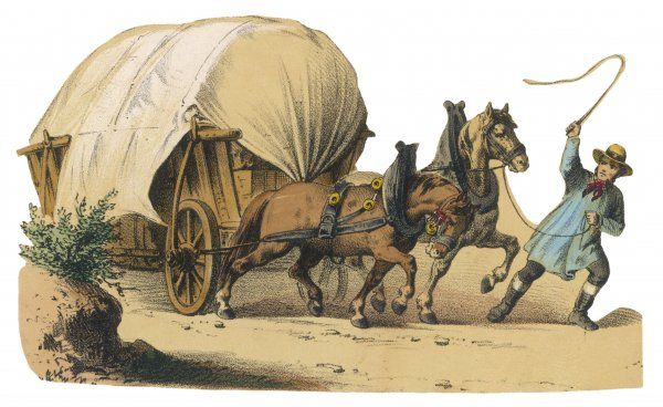 Two horses pull a heavy wagon, encouraged by a flick of the carter's whip