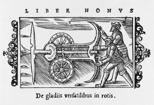 An armoured wagon with rotating blades