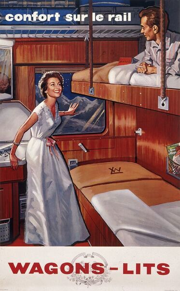 Poster extolling the comforts of travelling by rail when you have luxurious sleeper bunks to relax in